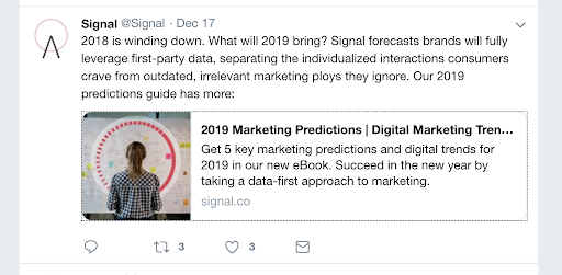 signal demonstrates their value to marketers by promoting their ebook