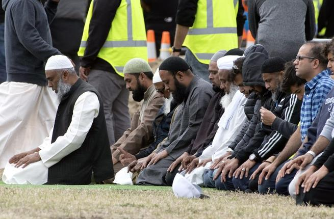 Mourners pray while attending the funeral of Haji Mohammed Daoud Nabi, victim of New Zealand's twin mosque attacks, at Memorial Park Cemetery in Christchurch (AFP)