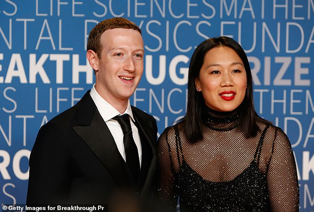 Mark Zuckerberg (left) and his wife Priscilla Chan (right) attend the 2019 Breakthrough Prize at NASA Ames Research Center last November
