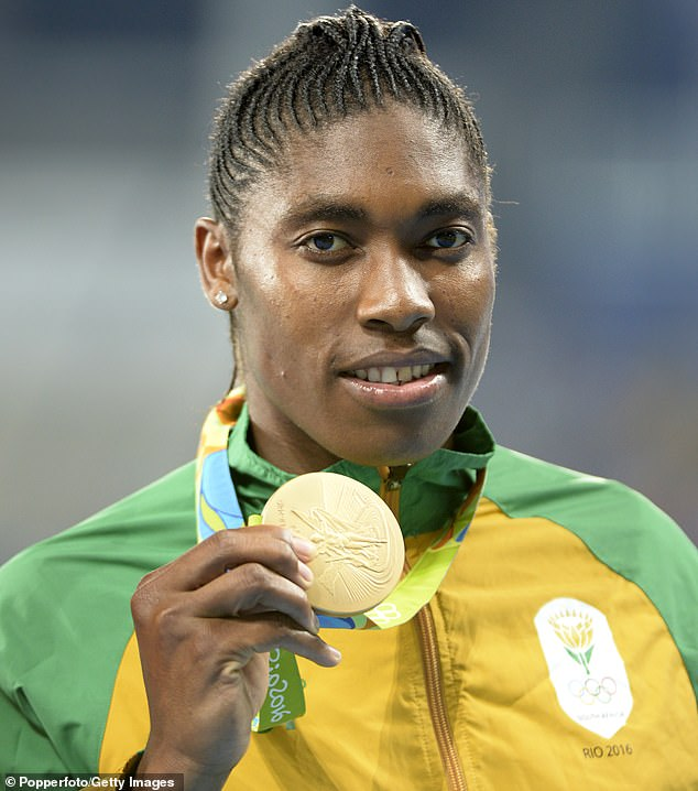 Runner Caster Semenya, 28, was subjected to a sex test when people claimed she was a man after testing found higher than usual levels of testosterone in her blood. She was temporarily banned from competing as a woman but has since been allowed to return