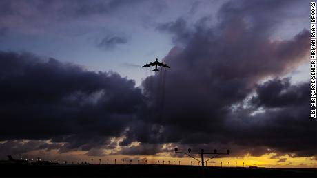 A B-52 Stratofortress takes off from Andersen Air Force Base, Guam, March 18, 2019.