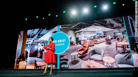 Roz Brewer, Starbucks chief operating officer discusses new store designs at the Starbucks Annual Meeting of Shareholders in Seattle.