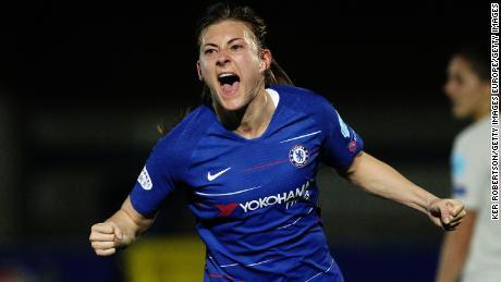 Hannah Blundell celebrates scoring for Chelsea Women.