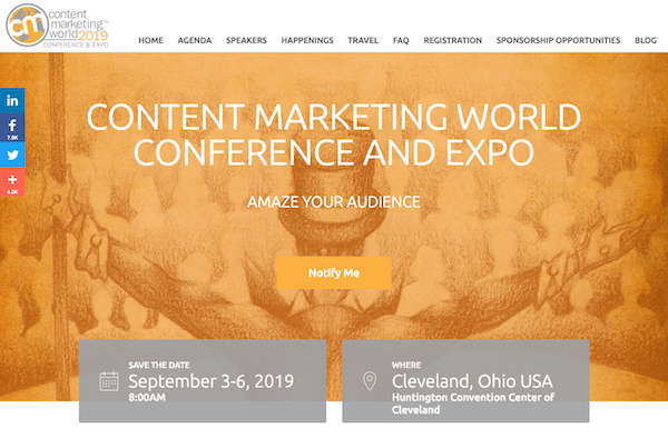Content Marketing World (CMW) 2019 banner 600x394