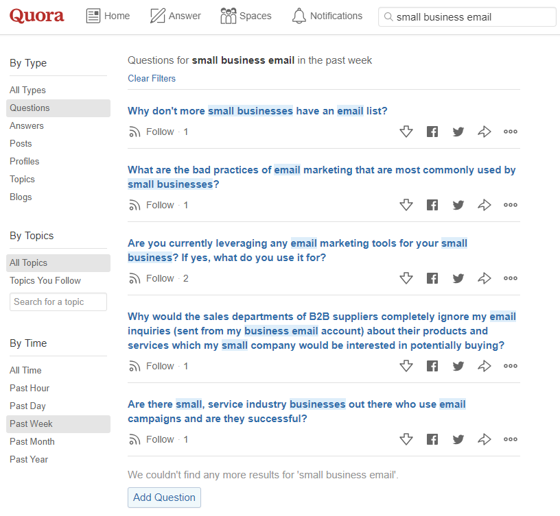 Many B2B-related queries are happening on Quora but are going unnoticed by brands