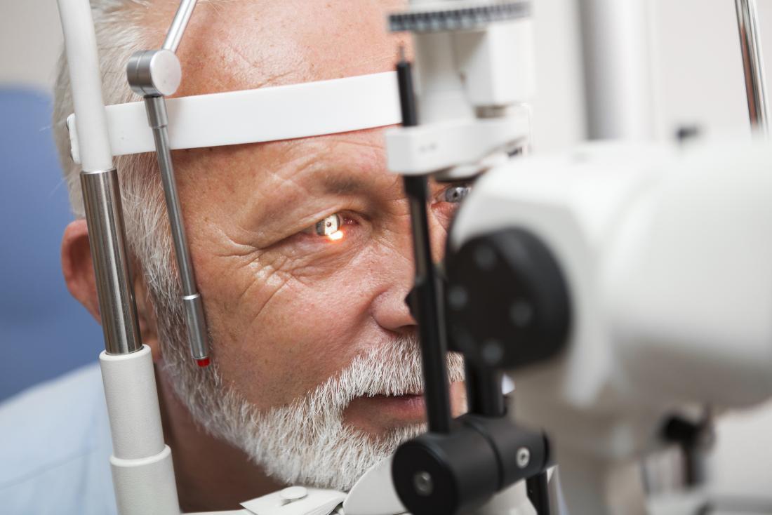 Older adult having an eye test