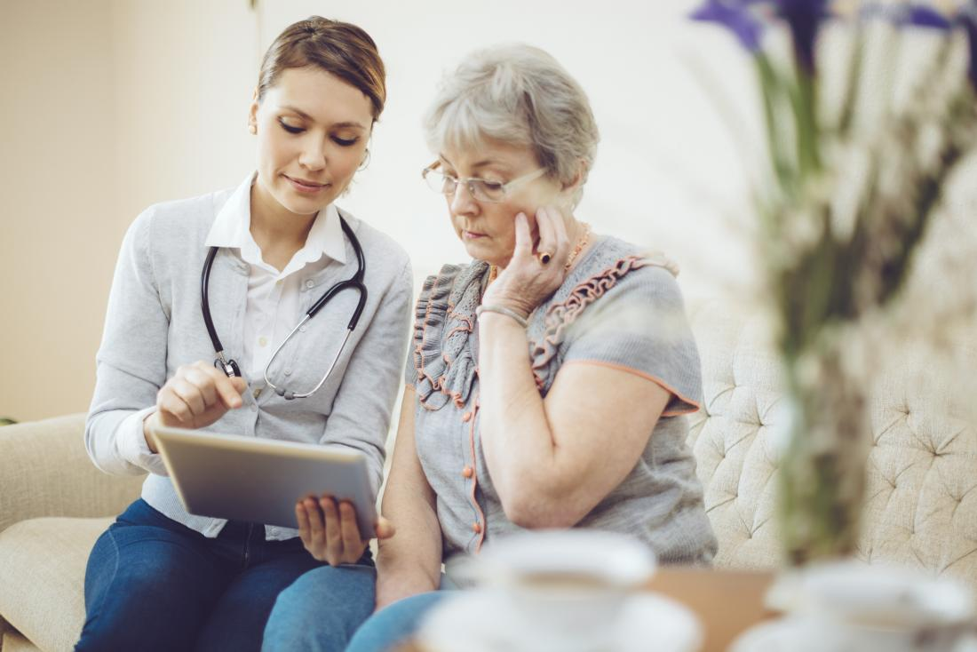 older woman speaking to a doctor