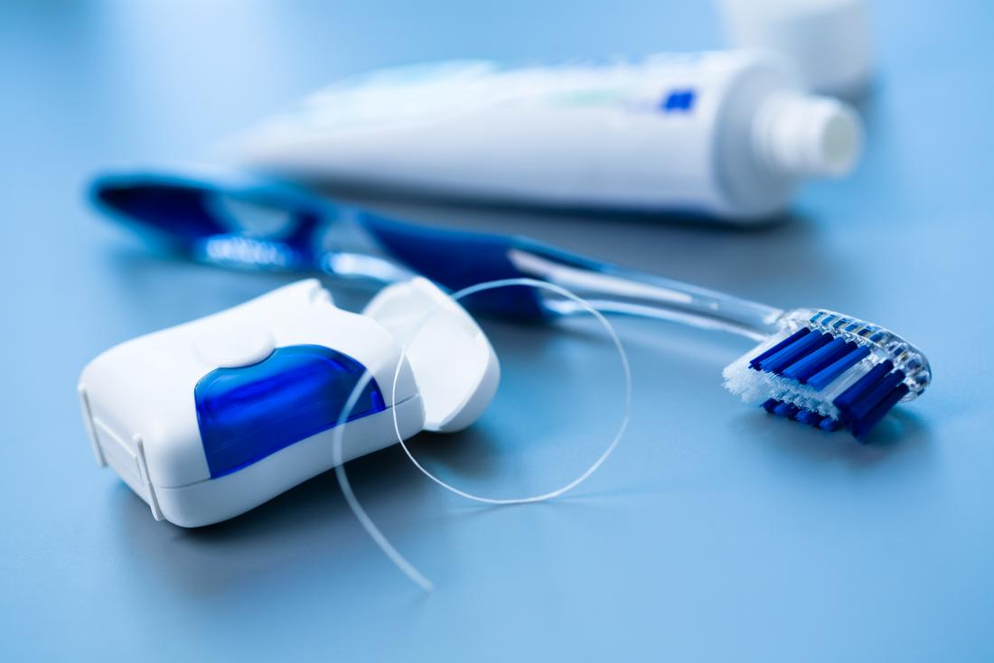 Toothbrush, toothpaste, and dental floss for healthy gums and teeth