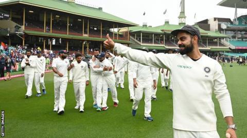 India captain Virat Kohli celebrates with his team