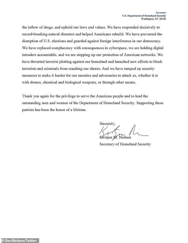 Department of Homeland Security Secretary Kristjen Nielsen's resignation letter