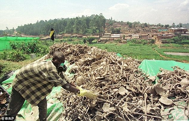 A man piling bones of people who were killed in the genocide in 1994