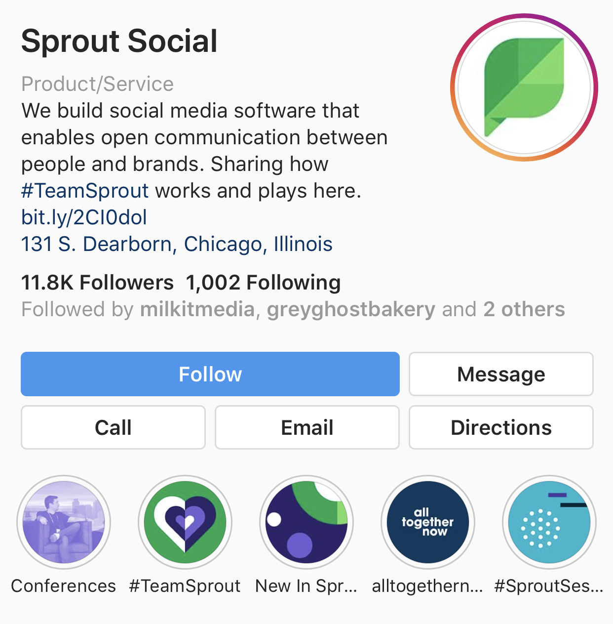 sprout instagram page with story highlights