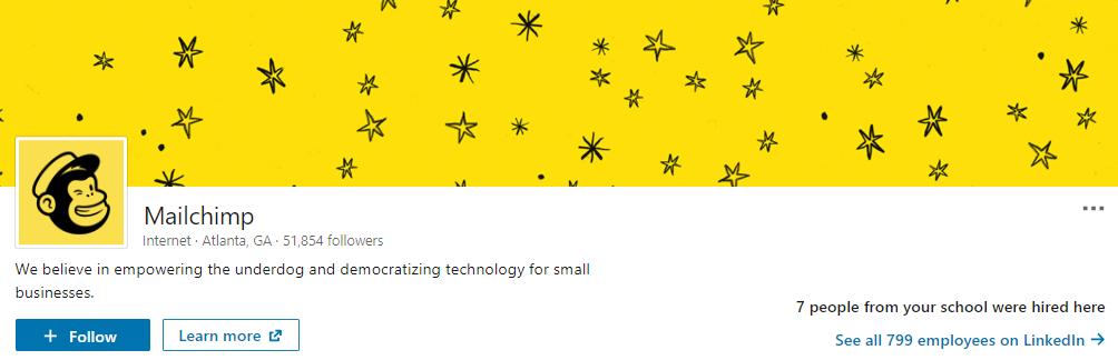 MailChimp's LinkedIn header is visually striking