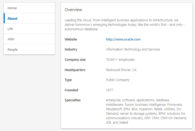 "Your LinkedIn ""About"" section highlights your company's mission statement as well as industry-specific keywords"