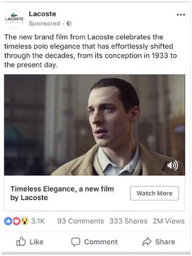 lacoste facebook video ad