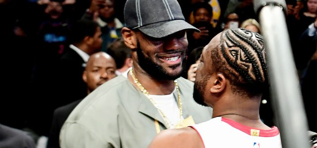 LeBron James and other stars in crowd for Dwyane Wade's final game
