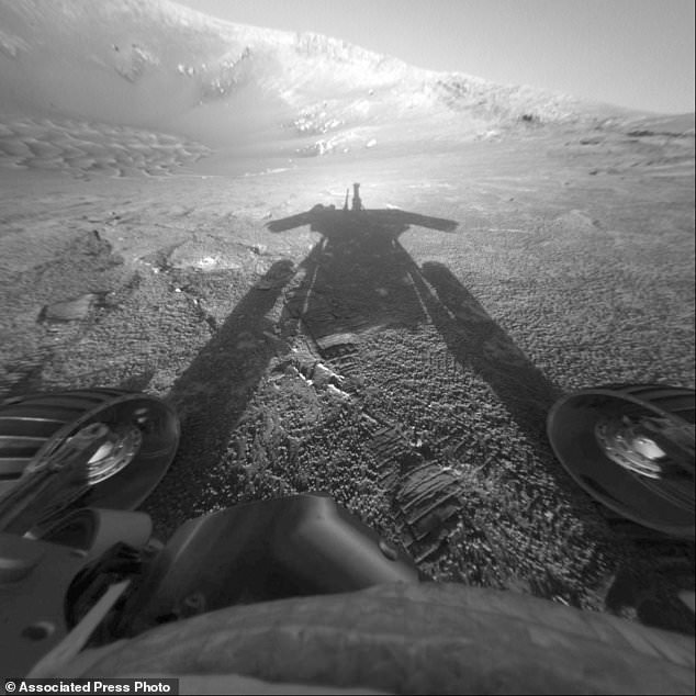 The shadow of the Mars Exploration Rover Opportunity as it traveled farther into Endurance Crater in the Meridiani Planum region of Mars. People took to social media this year to say goodbye to the Mars Opportunity rover when NASA lost contact on June 10, 2018