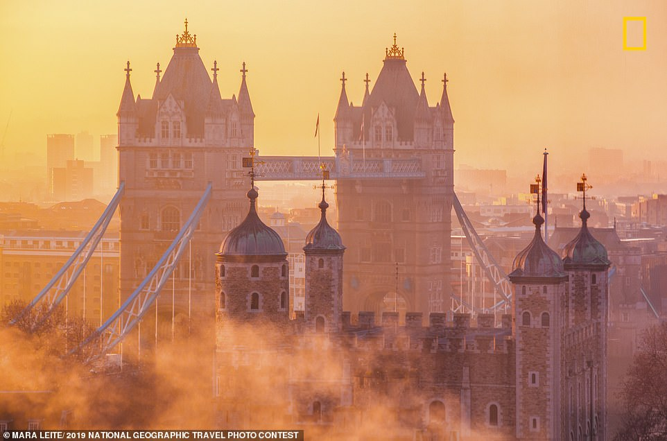 Photographer Mara Leite got up early to take this image of morning mist rising over the Tower of London and Tower Bridge