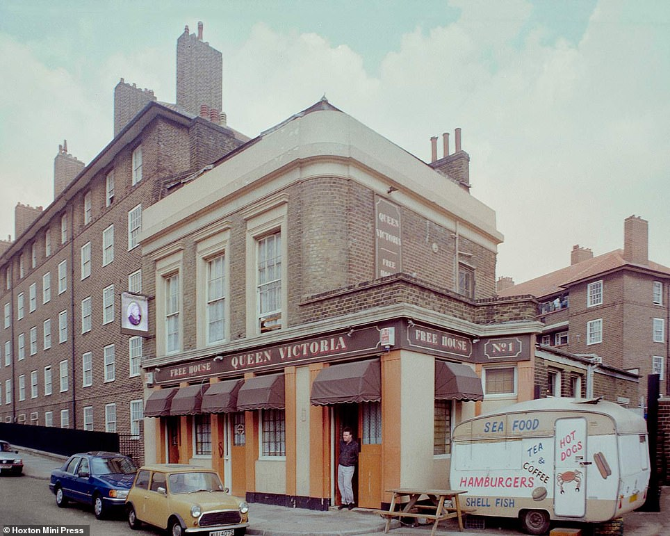 The Queen Victoria pub on Gillender Street, pictured left in 1990