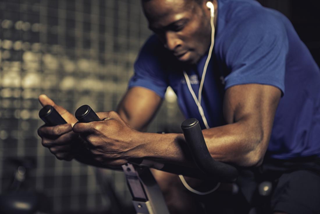 Man on exercise bike