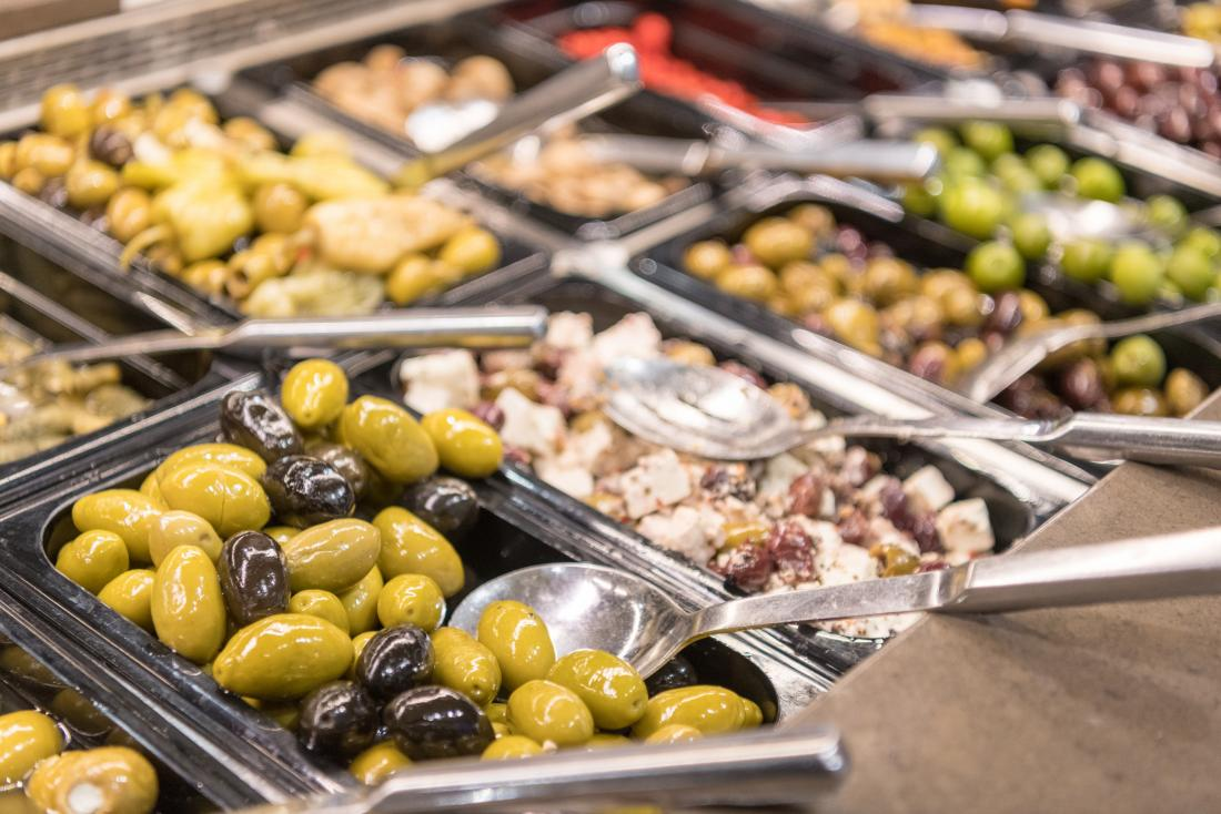 Olives and Mediterranean food in buffet