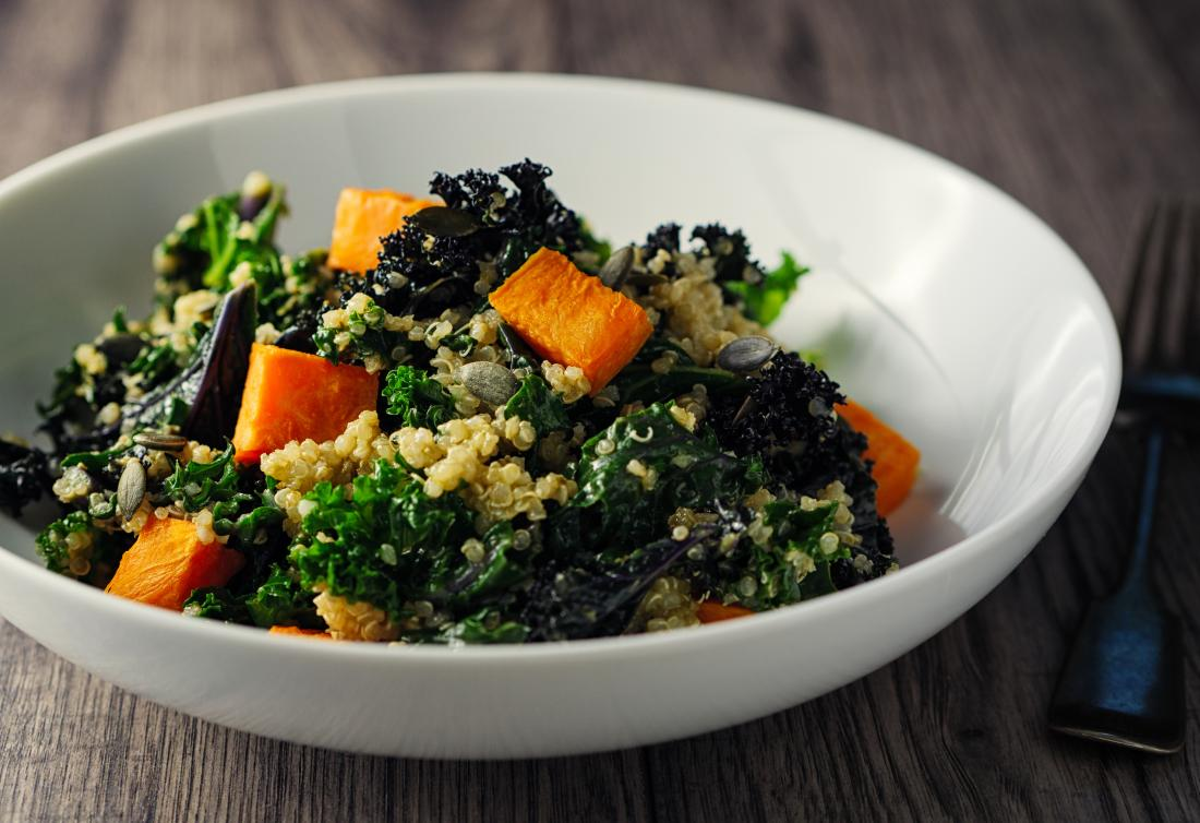 sweet potato kale and quinoa salad with dark leafy greens and vitamin a for skin