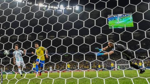 Roberto Firmino scores from close range to book Brazil's place in the Copa America final