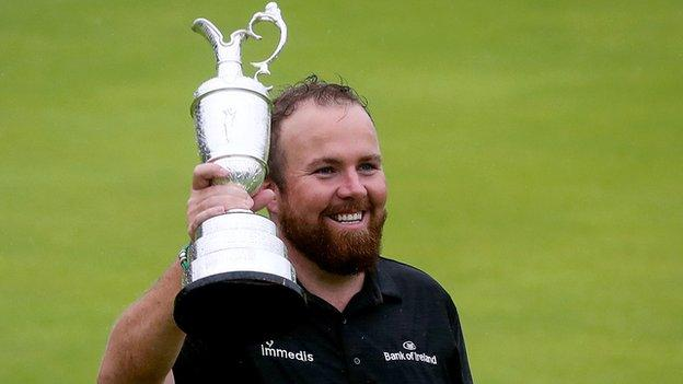Shane Lowry celebrates his Open triumph at Royal Portrush