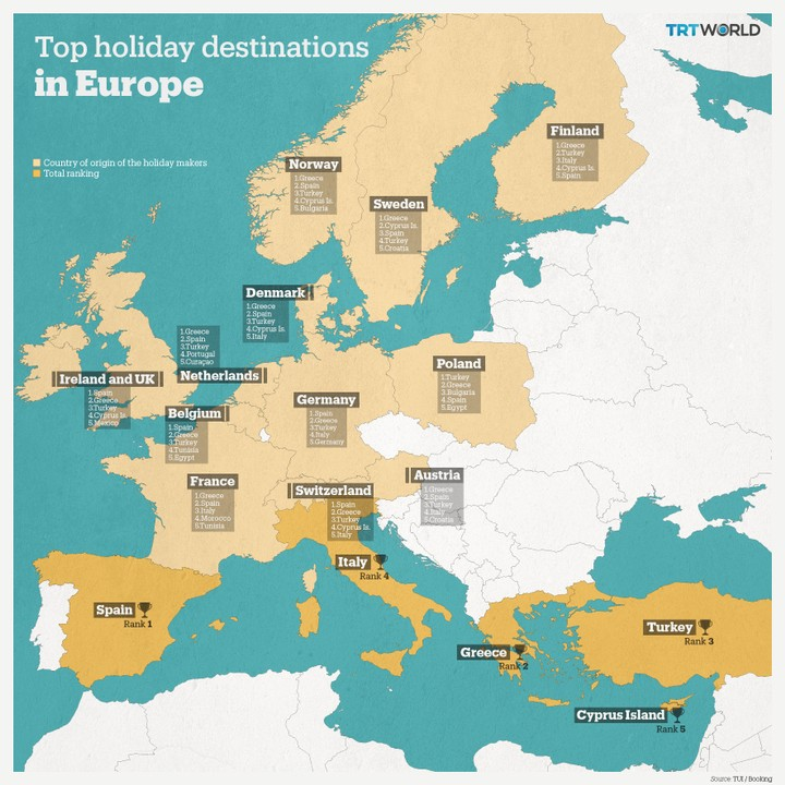 The map shows top summer holiday destinations in Europe, according to TUI Group.