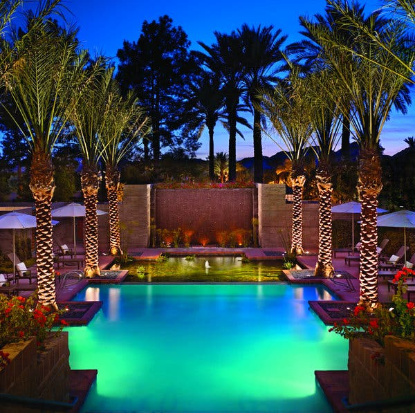 The Hyatt Regency Scottsdale Resort & Spa at Gainey Ranch, in Scottsdale, Ariz., has 10 pools, eight restaurants, a golf course and children's activities, among other amenities. Above, the spa's mineral pool.