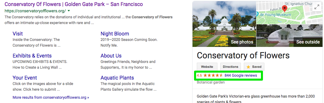 preview of google my business star rating