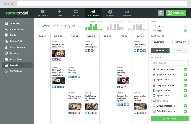 Sprout Social publishing calendar