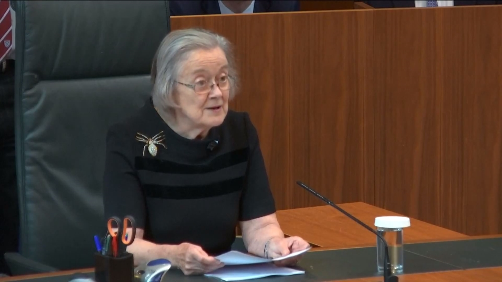 A handout screengrab made available by the Supreme Court of the United Kingdom shows President of The Supreme Court, Justice Lady Brenda Hale during the verdict on the prorogation of British parliamen