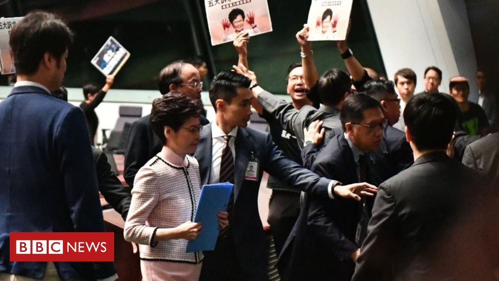 Hong Kong leader Carrie Lam Was Forced to Suspended her Annual Policy Address After Being Heckled in the City's Parliament