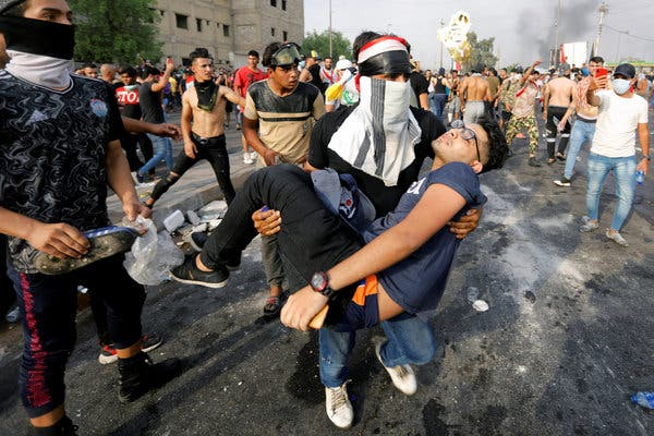 The Baghdad police used tear gas and rubber bullets and there were reports by evening of live fire that may have left two people dead.