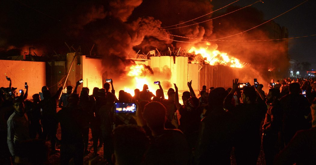 A Group of Iraqi Protesters Burn Down Iranian Consulate