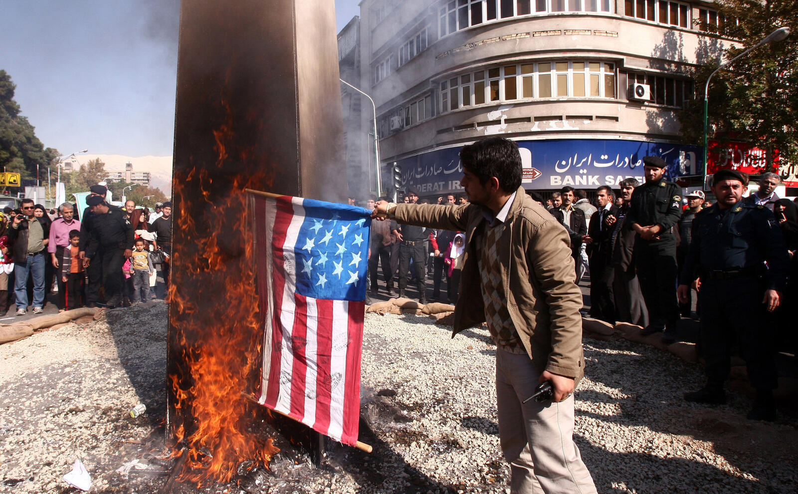 Iranian Factory Makes U.S. and Israeli Flags to Burn During Protests
